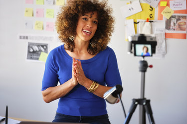 woman recording a webinar