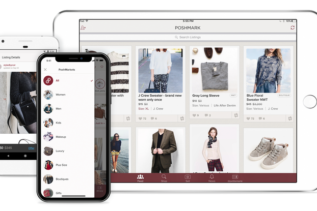 image of poshmark site and app on phone and tablet