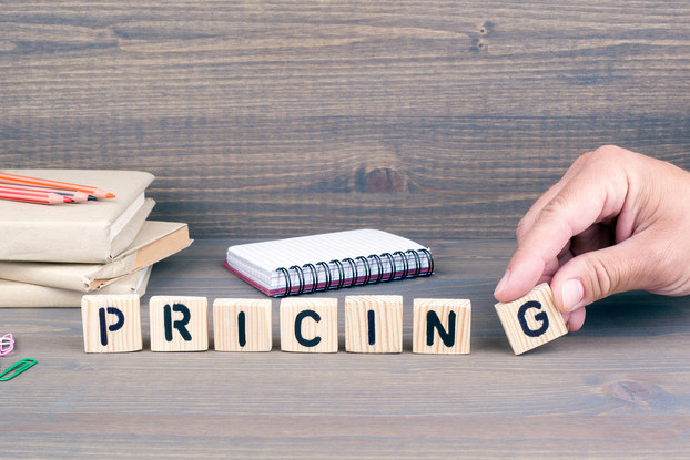 wood blocks spelling out the word pricing