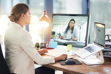 two women having a web meeting