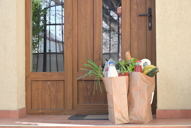 grocery bags delivered outside door