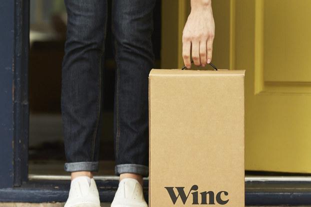 delivery of winc wine box to someones door