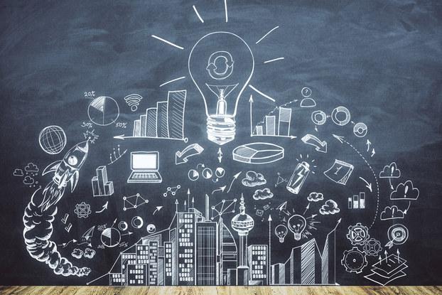 chalk art depicting lightbulb and business idea art