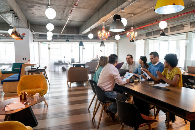 group of coworkers in a coworking space