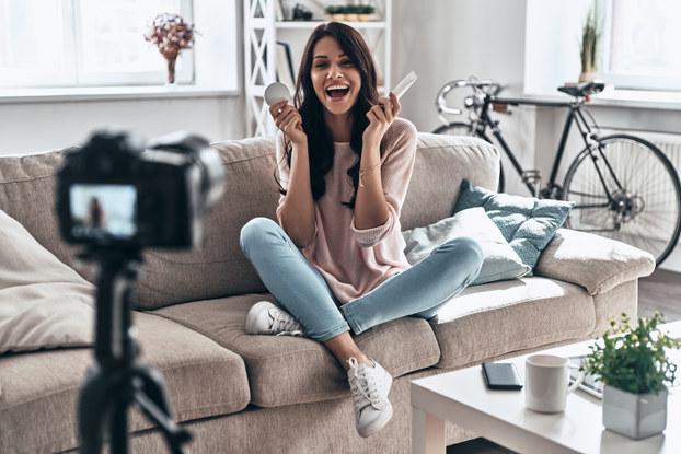 Social media influencer making video