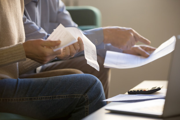 people going through paperwork