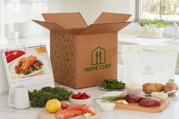 Home Chef box surrounded by fresh food