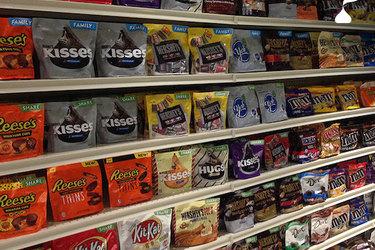 Hershey candy on grocery store shelf