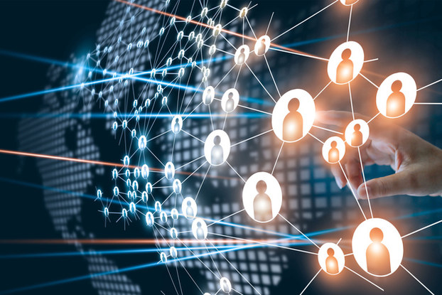 Digital illustration of network of people