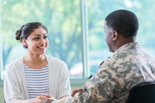 Veteran interviewing for job