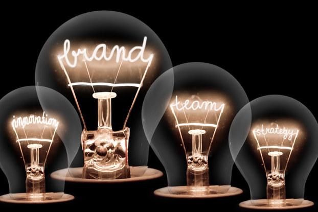 Light bulbs with brand written inside
