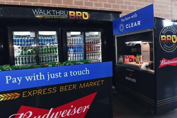 self-serve food and beverage kiosk at stadium