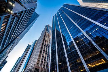 upward-facing image of city buildings