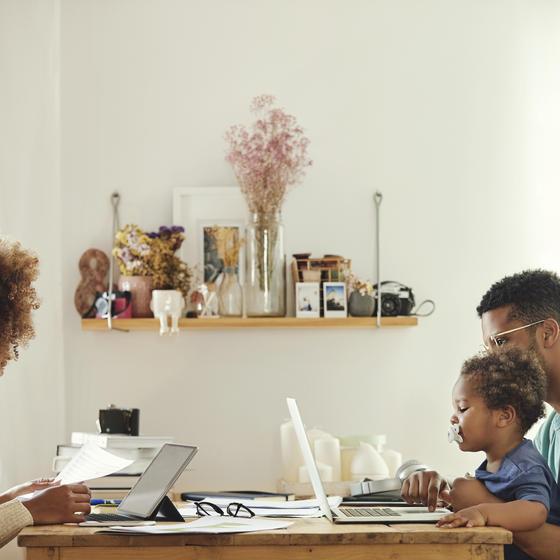 Young family balances work and home life.