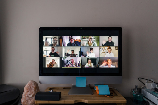 desktop computer screen with video conference