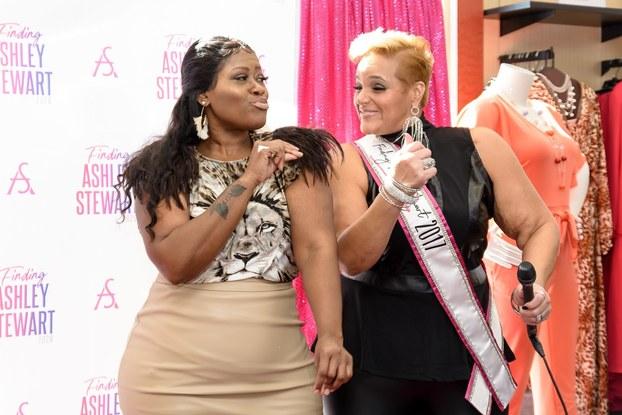 two women on stage at Atlanta tour stop of the 2020 Finding Ashley Stewart (FAS) tour