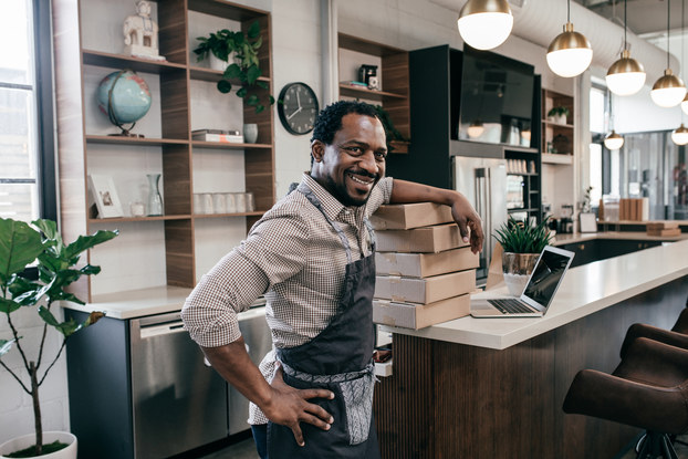 business owner inside coffee shop