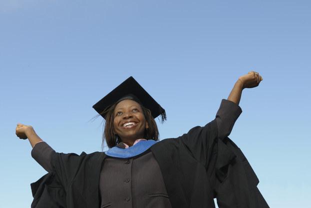 female graduate in gown