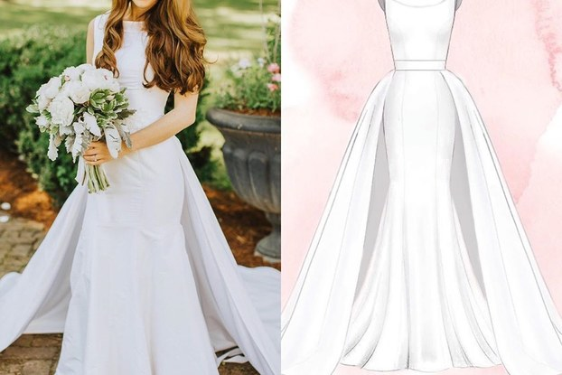 side-by-side shot of anomalie bride with sketch of dress