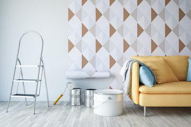 living room getting new wallpaper