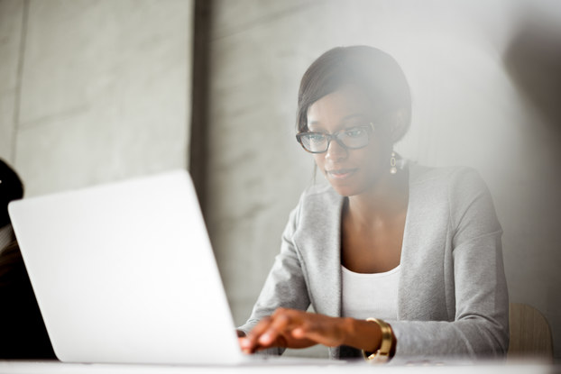 woman on laptop working