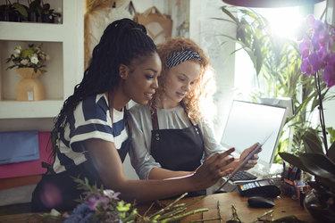 two women working in a flower shop
