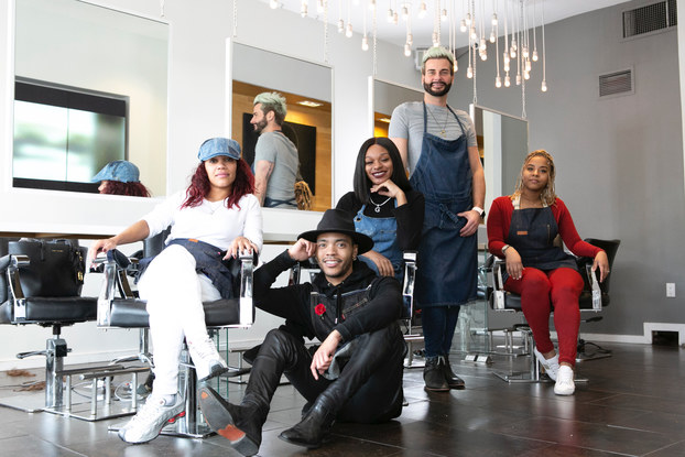 Dominik Mager with his team of creative stylists.