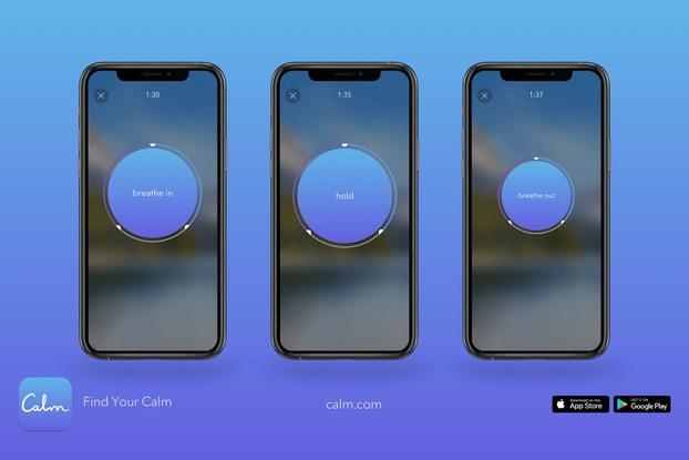 screen shots of calm meditation app