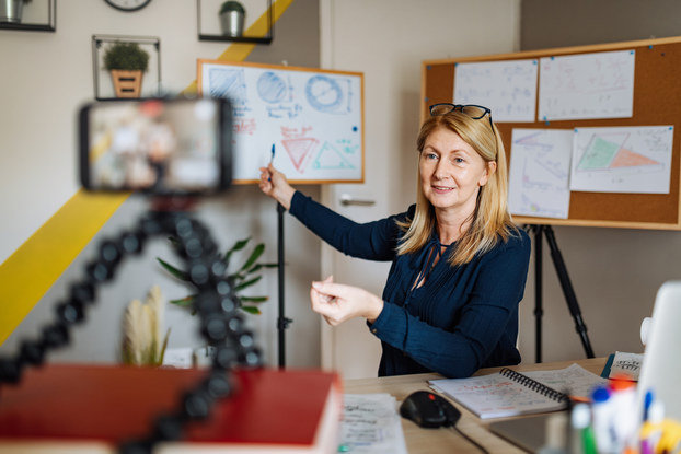 woman recording video tutorial