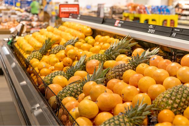 produce display inside schnucks market