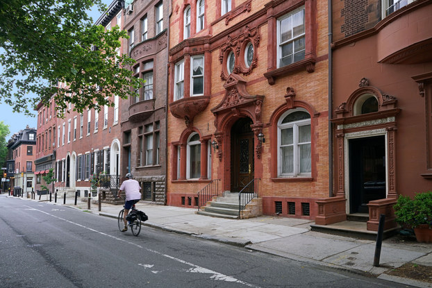 city street with brownstones