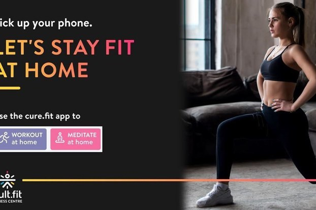 Cure.fit ad for working out at home