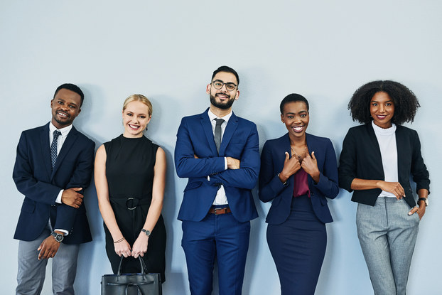 diverse employees standing in a row