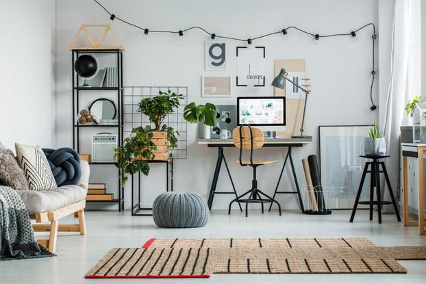 desk setup with decorations