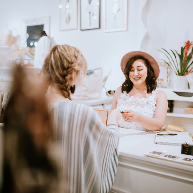 woman paying for her purchase at a boutique