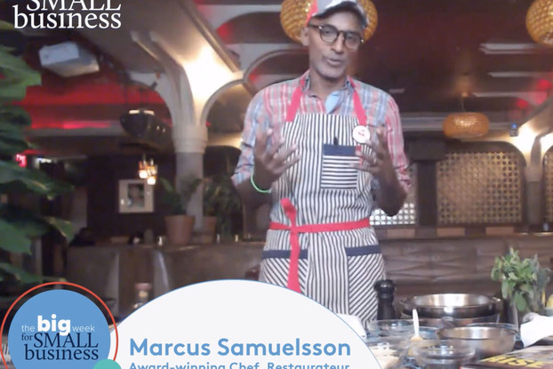 chef marcus samuelsson doing a virtual cooking demo