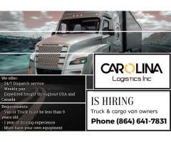 Carolina Logistics Inc is hiring truck&cargo van owners