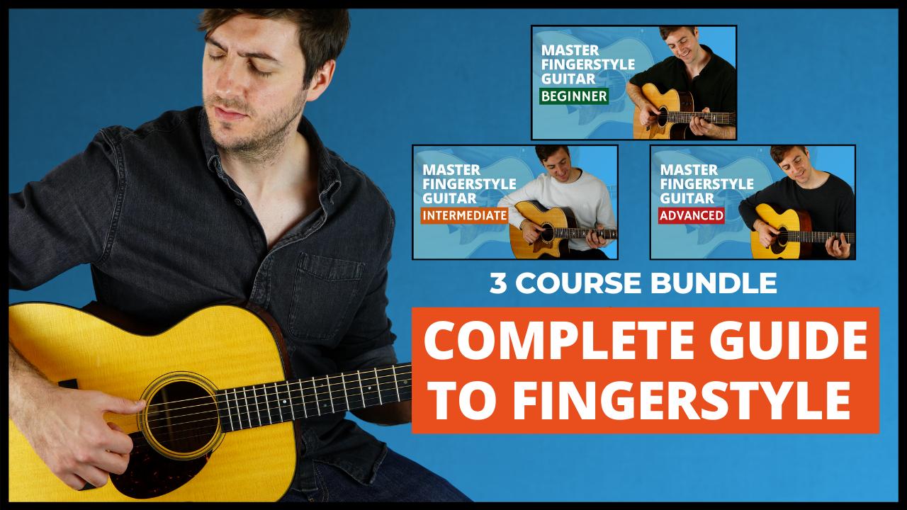 Fingerpicking course bundle - Beginner, Intermediate, 101 Patterns