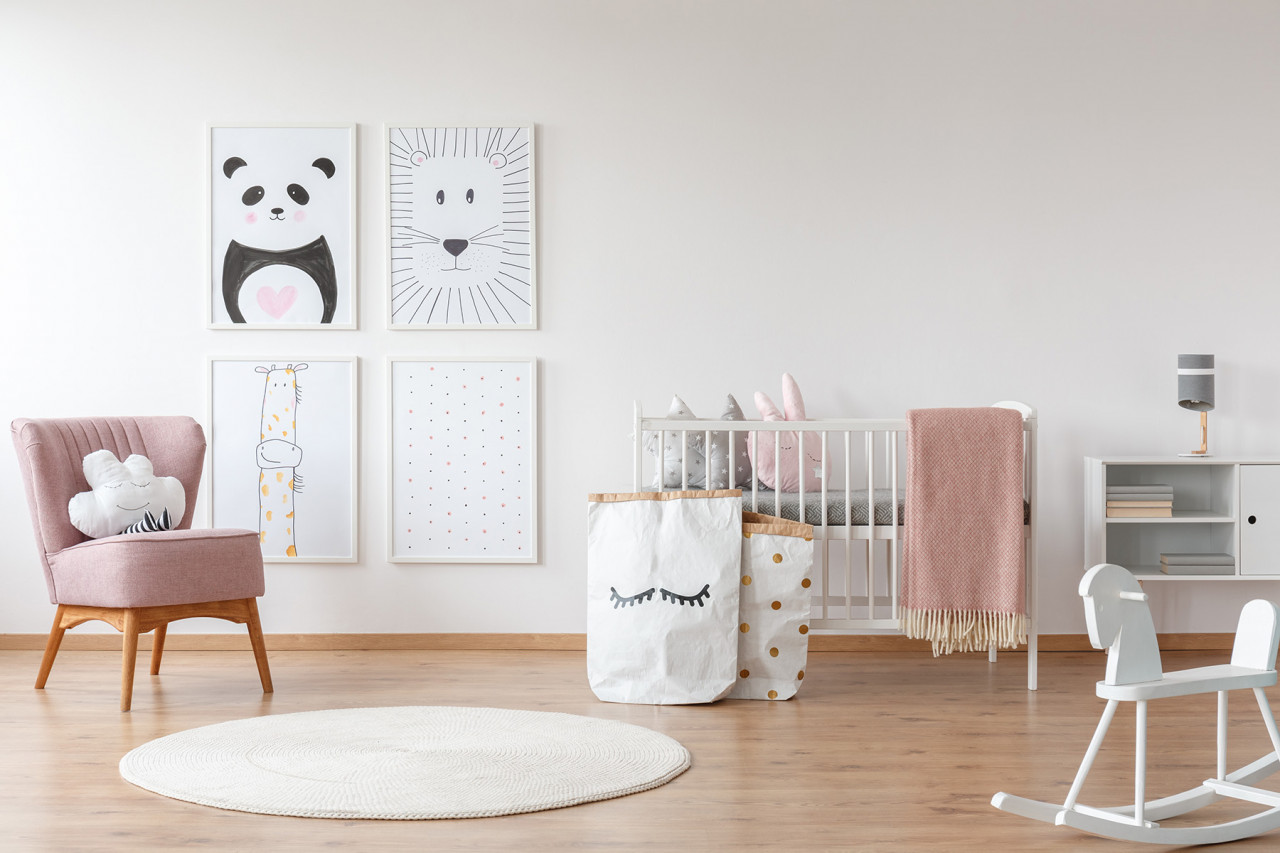 Baby nursery, including cot