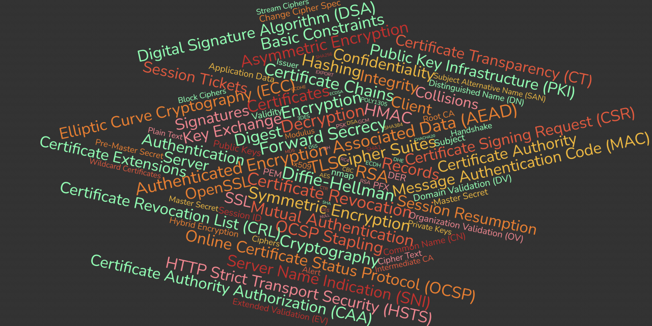 SSL, TLS, Client, Server, Certificate Authority, Confidentiality, Integrity, Authentication, Cryptography, Hashing, Digest, Collisions, HMAC, Message Authentication Code (MAC), Encryption, Decryption, Symmetric Encryption, Asymmetric Encryption, Signatures, Key Exchange, Public Key Infrastructure (PKI), RSA, Diffie-Hellman, Digital Signature Algorithm (DSA), Elliptic Curve Cryptography (ECC), Certificates, Certificate Signing Request (CSR), Certificate Extensions, OpenSSL, Basic Constraints, Certificate Chains, Certificate Revocation, Certificate Revocation List (CRL), Online Certificate Status Protocol (OCSP), OCSP Stapling, Cipher Suites, Forward Secrecy, Authenticated Encryption with Associated Data (AEAD), Records, Mutual Authentication, Server Name Indication (SNI), Session Tickets, Session Resumption, HTTP Strict Transport Security (HSTS), Certificate Authority Authorization (CAA), Certificate Transparency (CT), Plain Text, Cipher Text, Public Keys, Private Keys, Hybrid Encryption, Subject, Issuer, Validity, x509, Distinguished Name (DN), Common Name (CN), Wildcard Certificates, Subject Alternative Name (SAN), Modulus, DER, PEM, PFX, Root CA, Intermediate CA, Domain Validation (DV), Organization Validation (OV), Extended Validation (EV), Ciphers, Block Ciphers, Stream Ciphers, nmap, Handshake, Alert, Change Cipher Spec, Application Data, Master Secret, Pre-Master Secret, Master Secret, Session ID, Client Hello, Server Hello, Server Hello Done, Client Key Exchange, Finished, Server Key Exchange, Certificate Request, Certificate Verify, ECDHE, DHE, ECDH, DH, RSA, PSK, ECDSA, DSS, DSA, CHACHA20, AES, 3DES, RC4, DES, GCM, CBC, CTR, POLY1305, SHA384, SHA256, SHA, SHA1, MD5, EXPORT, NULL,