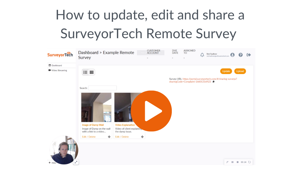 how to update, edit and share a SurveyorTech Remote survey
