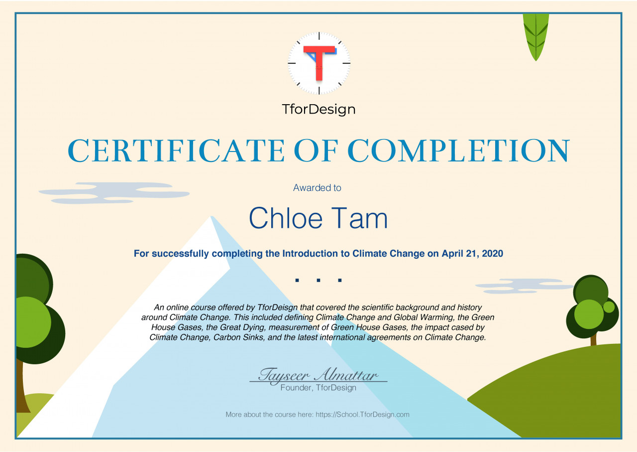 Certificate indicate learner successfully completing the Introduction to Climate Change course
