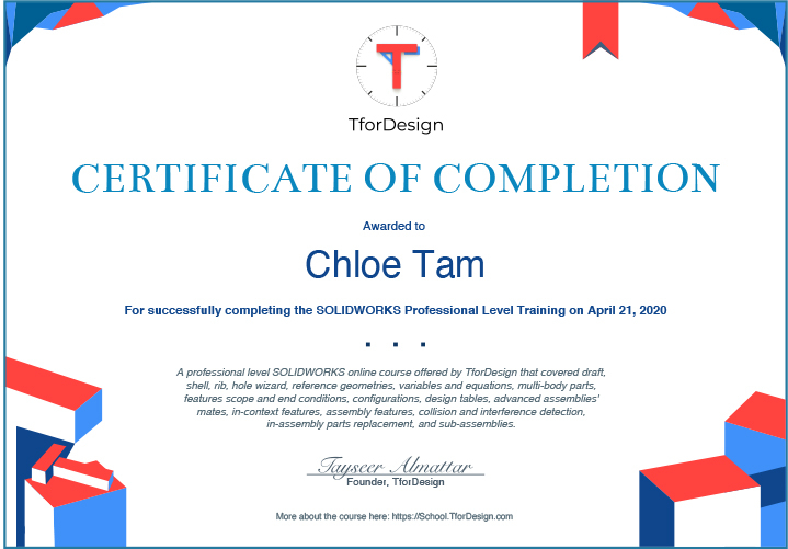 Get your certificate of completion to highlight your SOLIDWORKS skills