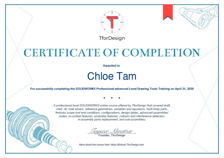 Certificate indicate learner successfully completing the solidworks professional-advanced drawing tools training
