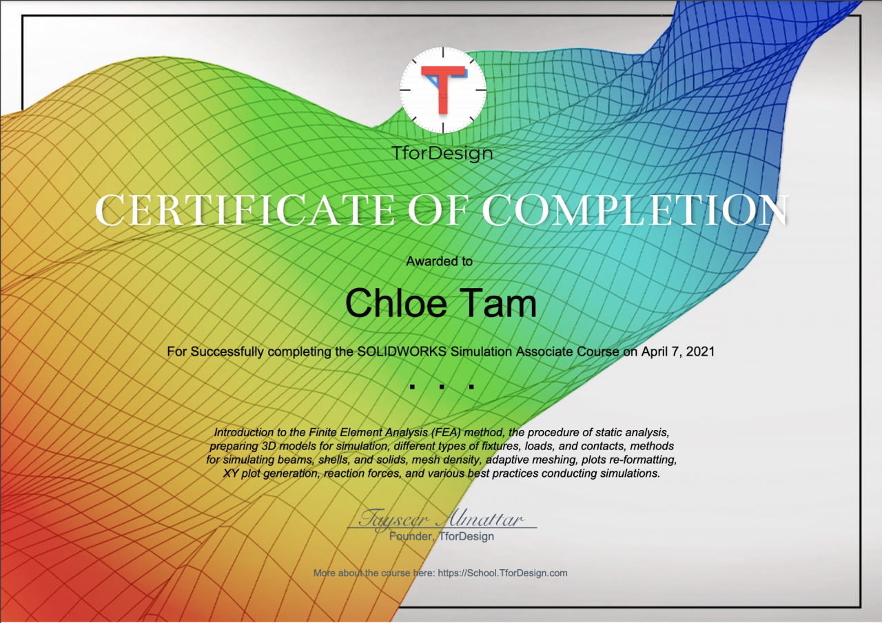 Certificate indicate learner successfully completing the Solidworks Associate level Training