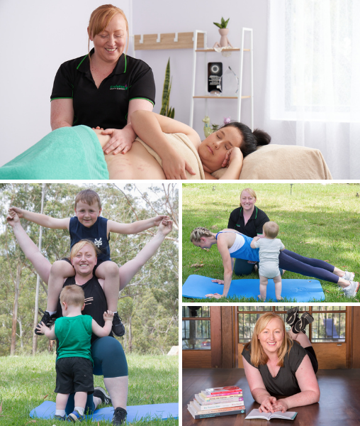 Collage of images depicting pregnancy massage, post natal exercise, mum and her children exercising and woman reading books.