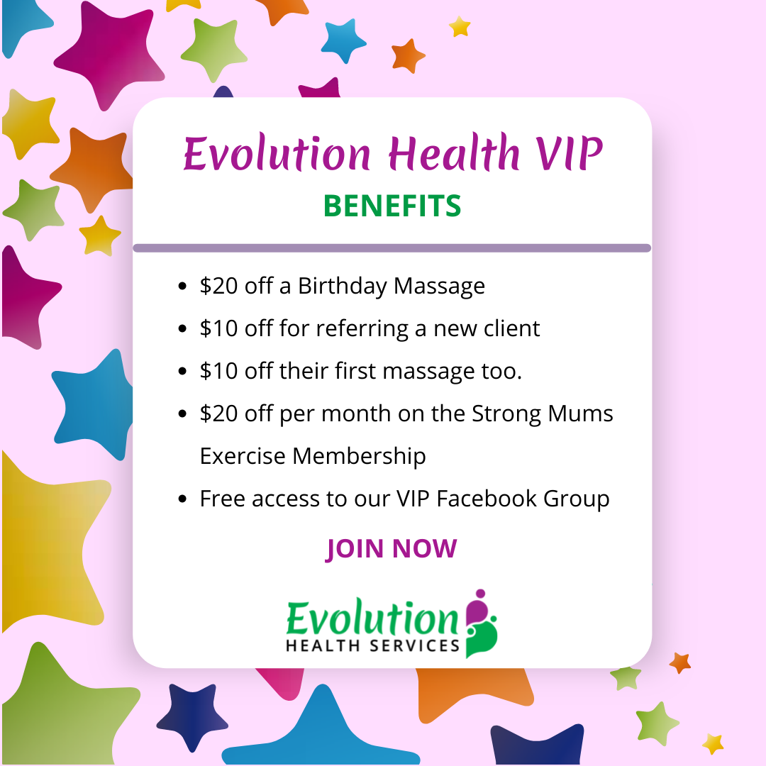 Join our free evolution health vip program with these benefits for massage and exercise services