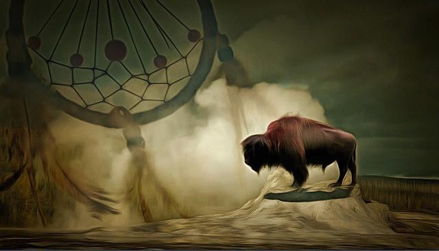 Buffalo and dreamcatcher shamanic image