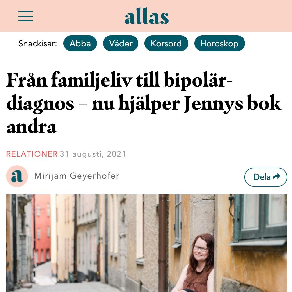 Allas veckotidning - Jenny Sandfors bipolär diagnos, skriver bok