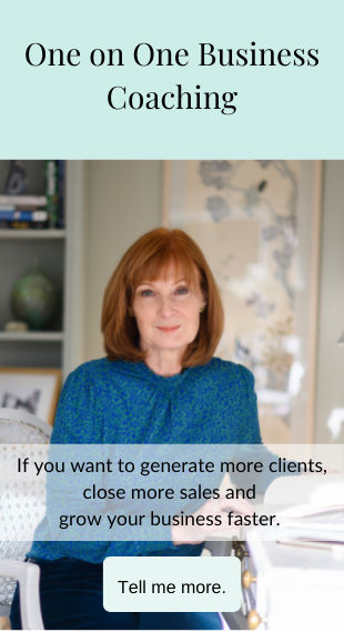 One-to-One Coaching Programmes: If you want to generate more clients close more sales and grow your business faster: Tell me more - click here to book now - after hover
